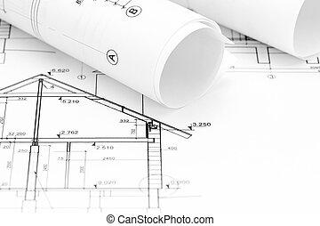 cianotipo, dibujo, plan, arquitectónico, hogar, rollos