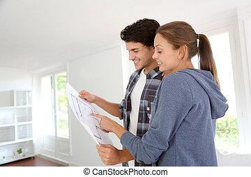 cianotipo, dueños, mirar, hogar, nueva propiedad