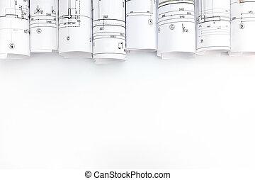 cianotipo, fondo blanco, arquitectónico, rollos