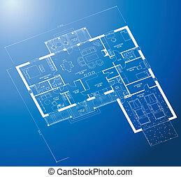 cianotipo, fondo., vector, arquitectónico