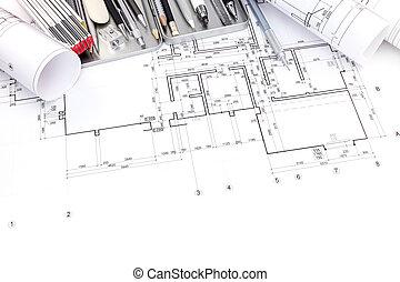cianotipo, gráfico, apartamento, rollos, plan, herramientas, cuartos de dibujo