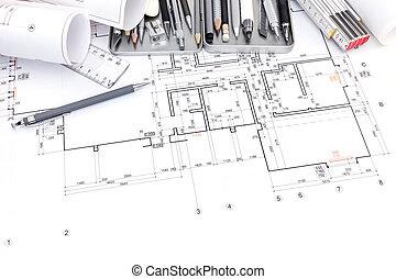 cianotipo, gráfico, conjunto, dibujo, papel, vario, plan, herramientas, rollos