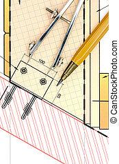 cianotipo, herramientas, primer plano, dibujo, arquitectónico