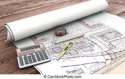 cianotipo, hogar, herramientas, plan, extensión