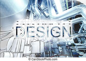 cianotipo, imagen, dibujo, combinado, equpment