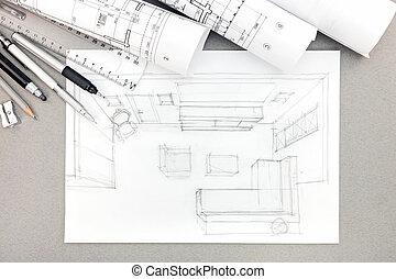 cianotipo, lápiz, gráfico, habitación, vida, bosquejo, dibujo, interior, herramientas, rollos
