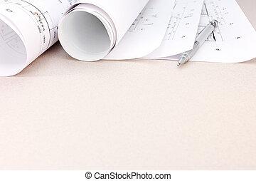 cianotipo, lápiz, plan, arquitectónico, rollos