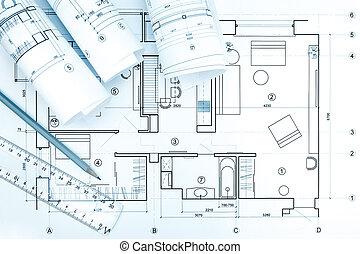 cianotipo, lápiz, regla, arquitectónico, plan, rollos