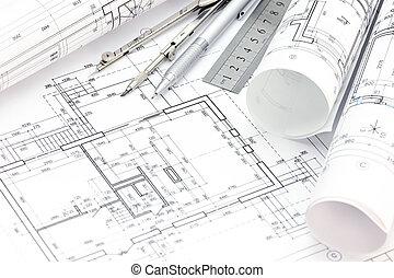 cianotipo, lápiz, rollos, piso, regla, arquitecto, espacio de trabajo, compás, plan, dibujo