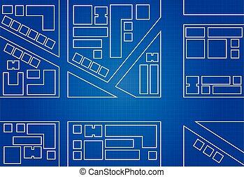cianotipo, mapa, ciudad
