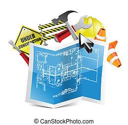 cianotipo, mapa, construcción, debajo