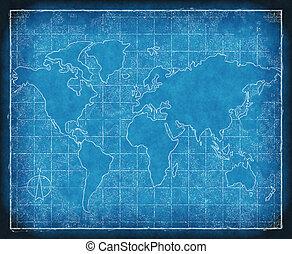 cianotipo, mapa, mundo