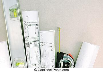cianotipo, nivel, rollos, cinta, arquitectónico, medida, espíritu