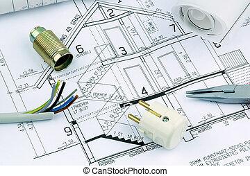 cianotipo, para, un, house., eléctrico