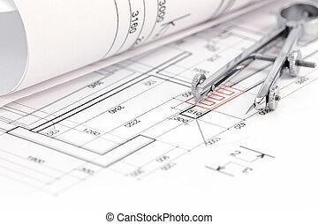 cianotipo, piso, arrollado, plan, compás, dibujo
