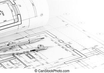 cianotipo, piso, rollo, plan, plano de fondo, compás, dibujo