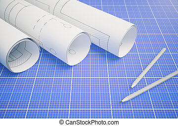 cianotipo, plan, arquitectónico