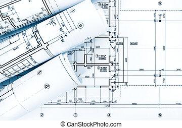 cianotipo, planes, rollos, proyecto, papel, arquitectónico, dibujo