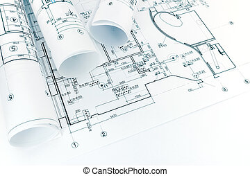 cianotipo, plano, arquitectónico, rollos, dibujos