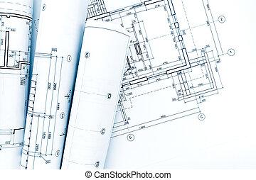 cianotipo, proyecto, casa, dibujos, plan, arquitectónico, rollos