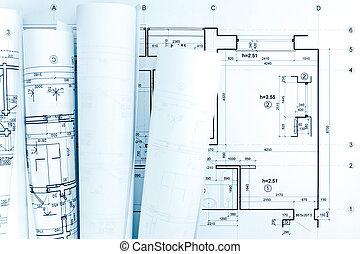 cianotipo, rollos, arquitectónico, plan