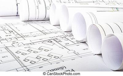 cianotipo, rollos, arquitectónico