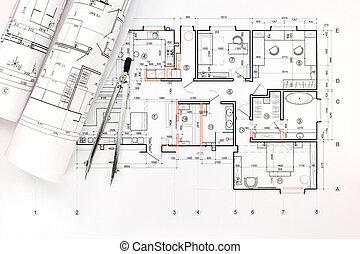 cianotipo, rollos, dibujo, arquitectónico, compás