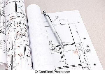 cianotipo, rollos, planes, arquitectónico, escritorio