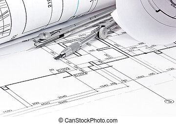 cianotipo, rollos, primer plano, arquitectura, compás, dibujo