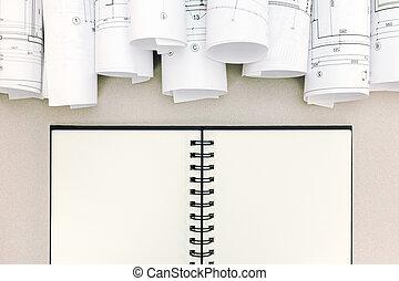 cianotipo, tabla, bloc, rollos, arquitectónico