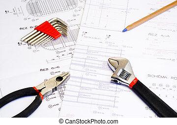 cianotipo, y, herramientas