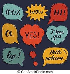 ciao, benvenuto, ciao, set, amore, colorito, frasi, vettore, mano, wow, discorso, sì, disegnato, lei, bolle, ciao, comico, ok.