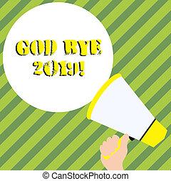 ciao, buono, fine, affari, dio, testo, esposizione, espresso, quando, scrittura, year., auguri, mano, foto, concettuale, ultimo, 2019., o, scriminatura