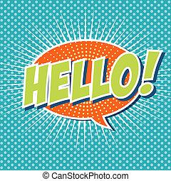 ciao, !, -, comico, bolla discorso, carrello