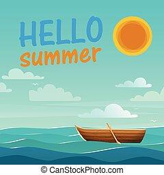 ciao, estate, mare, barca, sole, cielo blu, fondo, vettore, immagine