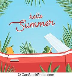 ciao, estate, poster., trendy, bandiera, presentare, estate, stagione, con, classico, retro, automobile, e, foglie palmo, contro, blu, sky., colorito, vettore, illustration.