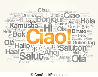 Ciao hello greeting in italian word cloud in different languages ciao hello greeting in italian word cloud m4hsunfo