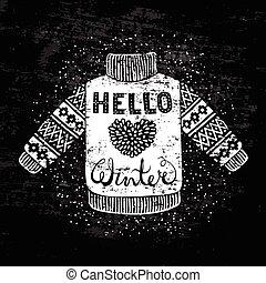 ciao, inverno, testo, e, lavorato maglia, lana, pullover,...