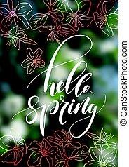 ciao, primavera, scrittura, iscrizione, disegno, isolato, su, blurry, fiore ciliegia