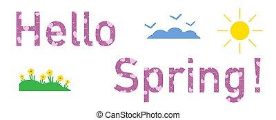 ciao, spring., sole, cuori, fiori, clouds.