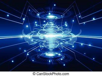 ciao-tecnologia, concetto, astratto, illustrazione, vettore, fondo, tecnologia digitale