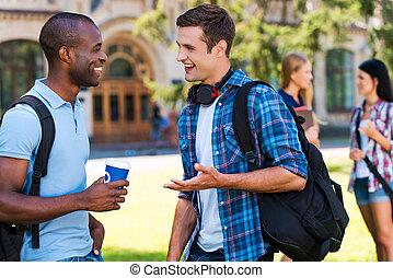 ciarlare, con, friends., due, giovani uomini, parlando, altro, e, sorridente, mentre, due donne, standing, in, il, fondo