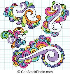 ciasny, doodles, abstrakcyjny, komplet, wiry