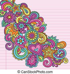 ciasny, doodles, moc kwiatu, wektor