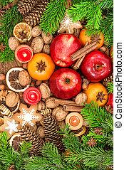 ciasteczka, jadło, orzechy laskowe, tło, owoce, przyprawy, boże narodzenie