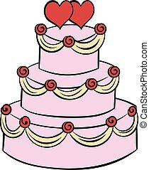 ciastko, ślub, rysunek, ikona