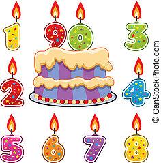 ciastko, świece, wektor, urodziny