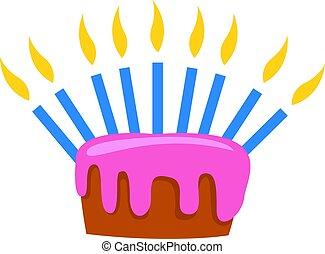 ciastko, biały, tło., wektor, ilustracja, urodziny
