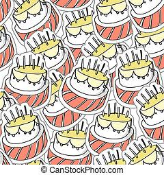 ciastko, birthday`s, seamles, tło