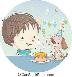 ciastko, chłopiec, urodziny, pies, koźlę